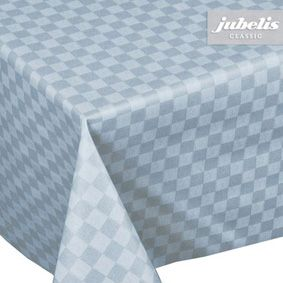 Easy Care Plastic Tablecloth for Square Tables with a Blue Chequered Pattern