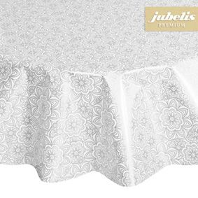 Premium film tablecloth in round with pattern