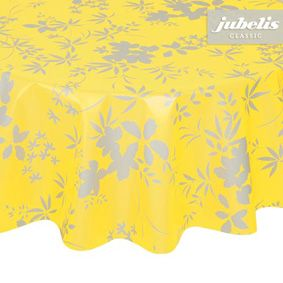 Round garden tablecloth with washable surface in yellow