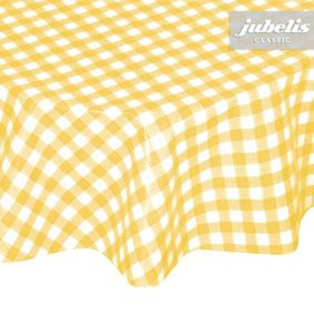 Washable tablecloth checkered yellow assembled in approximate size